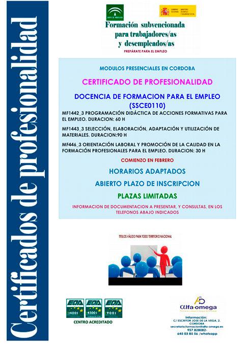 Curso gratuito para trabajadores/autónomos y desempleados